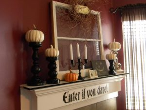 house-decoration-red-wall-paint-halloween-mantel-decoration-with-white-mantel-fireplace-and-black-candle-stick-also-white-pumpkins-12-images-halloween-mantel-decoration